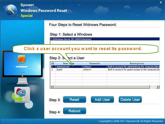 Reset Windows Password on HP Smart Array RAID Controller